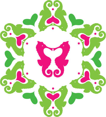 Colored sea horses ornament Illustration