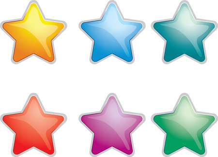 Glossy stars of different colors