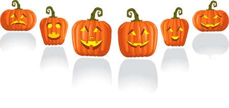 Halloween pumpkins emoticons Illustration