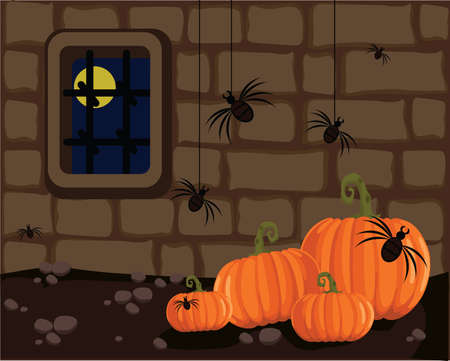 Pumpkins in a dungeon with spiders