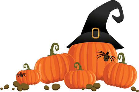 Pumpkins with witch hat Illustration