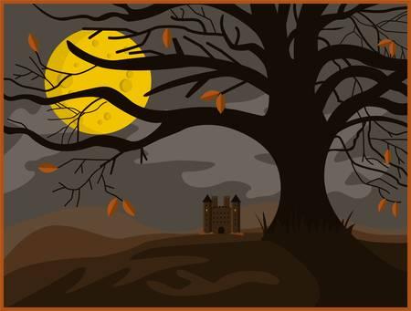Scary tree in the full moon Иллюстрация