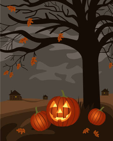 Scary tree with Halloween pumpkins