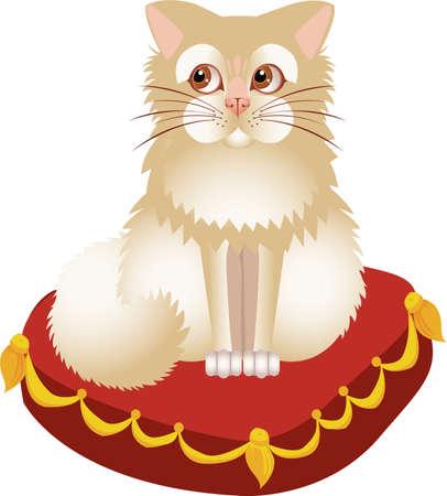 White kitten on a red pillow  Illustration