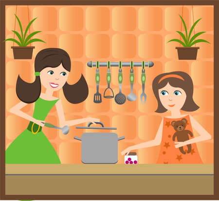 family tradition, mom and daughter  Stock Vector - 10856029
