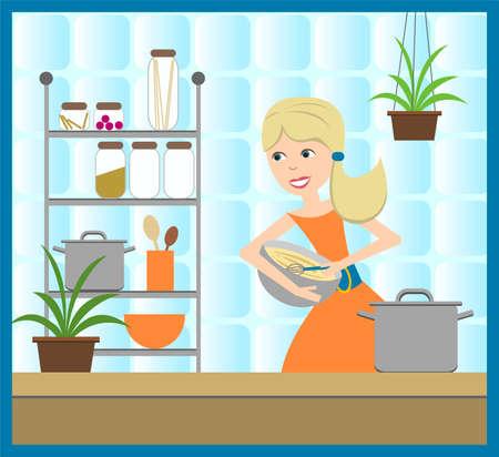 housewife cooking dinner Иллюстрация