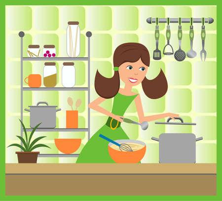 housewife cooks soup  Иллюстрация