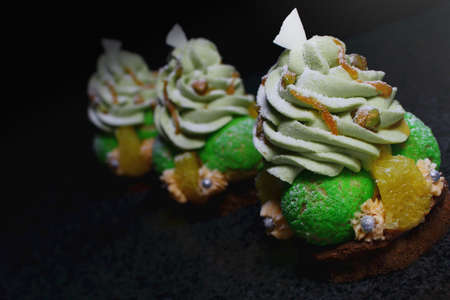 Christmas Tree Choux Pastry Desserts With Oranges Pistachio
