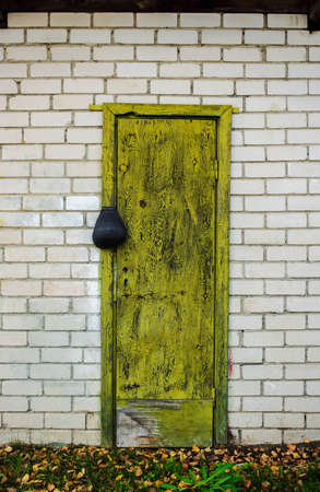 Old greenish yellow wooden door with a lock in white brick wall with green grass bottom