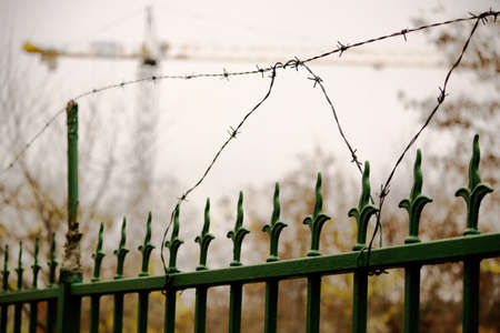 Green forged iron fence with barbed wire on dull autumn door Standard-Bild