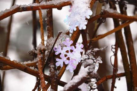 Weiße dekorative Schneeflocke versteckt sich in echtem Schnee auf Winterheckzweigen