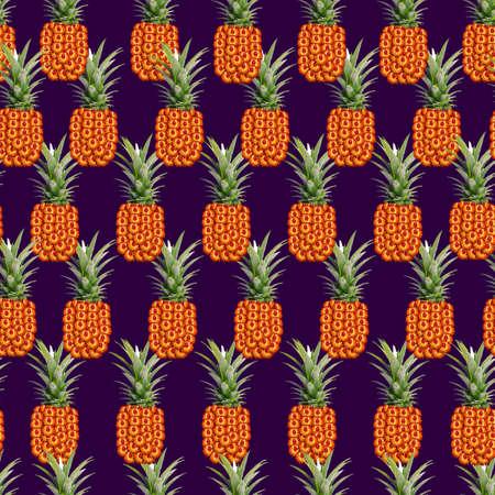 Fiery orange and red strawflowers pineapple seamless pattern on dark purple background