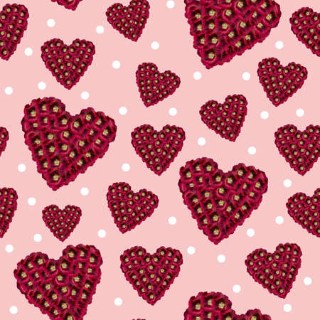Maroon Floral Heart seamless pattern on pink background with white polka dots 版權商用圖片