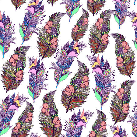 Colorful boho hand drawn line art zentangle feathers on white background seamless pattern