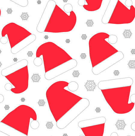 Red Santa hats with big and small snowflakes seamless pattern on white background 版權商用圖片