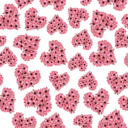 Pink gazania Floral Heart seamless pattern on white back