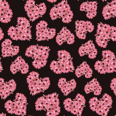 Pink gazania Floral Heart repeated pattern on chocolate color background