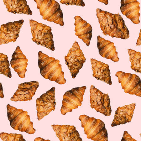 Baked golden brown croissant seamless pattern on pink background