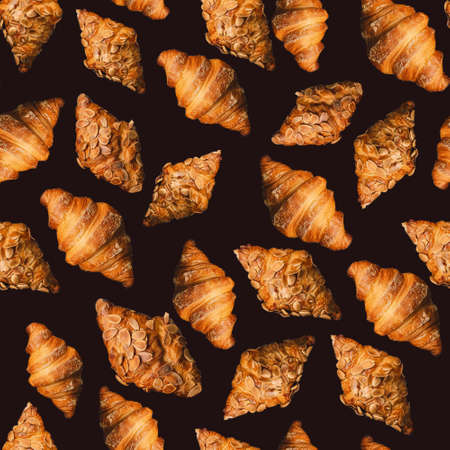 Baked golden brown croissant seamless pattern on black background