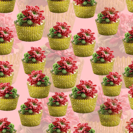 Succulent Flower Cupcake in golden cup pattern on pink background