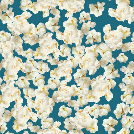 Popcorn seamless pattern on dark blue background