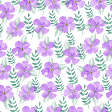 Hand drawn watercolor violet floral seamless pattern 版權商用圖片