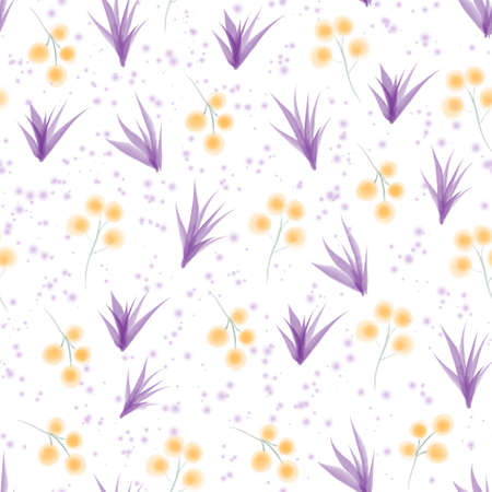 Watercolor yellow mimosa and purple leaves floral seamless pattern 版權商用圖片