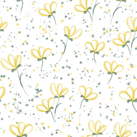 Watercolor yellow flowers and purple leaves floral seamless pattern 版權商用圖片