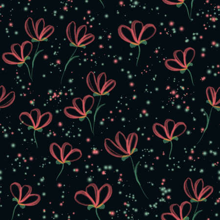 Watercolor red three petal flower and watercolor splashes floral seamless pattern