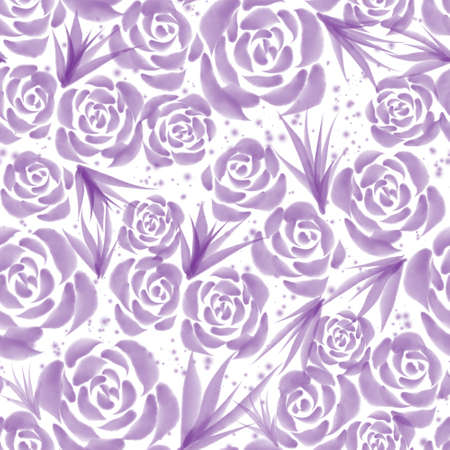Hand drawn watercolor violet roses floral seamless pattern