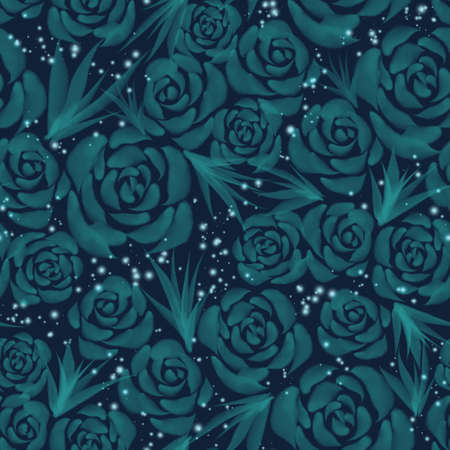 Hand drawn watercolor mint roses floral seamless pattern on black background
