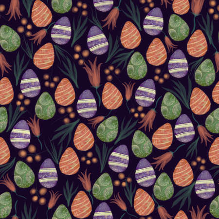 Hand drawn watercolor easter eggs and florals seamless pattern on dark blue 版權商用圖片