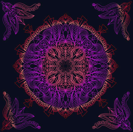 Mandala floral design with purple and orange gradient on black background 版權商用圖片