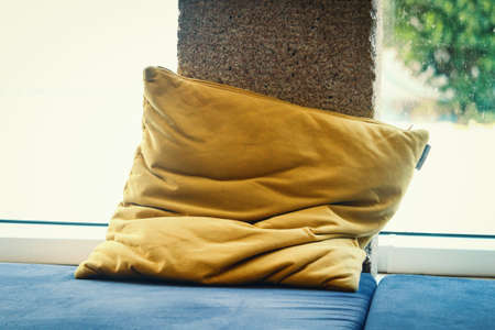 Yellow floor pillow put near window pillar on floor mat