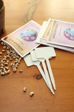 Heritage Seed Packs and planting supplies for gardening (*seed package is designed and made by photogrpaher for purposes of this image shoot) photo