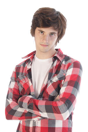 handsome boys: Teenager in casual plaid shirt  Stock Photo