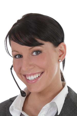 Younf professional women wears headset  photo