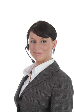 Younf professional women wears headset  Stock Photo - 9419175
