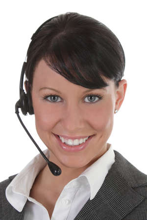 teleconference: Younf professional women wears headset
