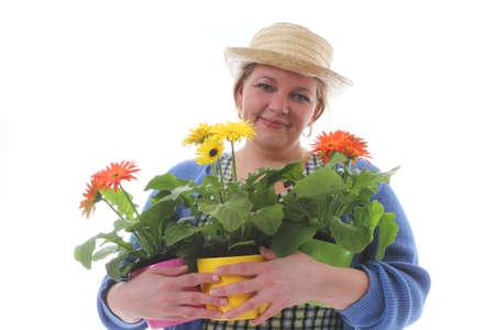 transplants: Women transplants spring flowers for mothers day gardening Stock Photo
