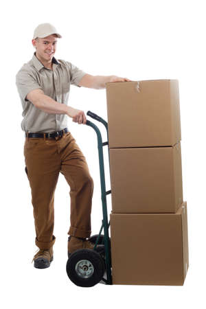 Divlery guy courier shipping containers Stock Photo - 13602910