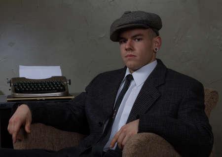characterization: retro vintage characterization of a newsman reporter