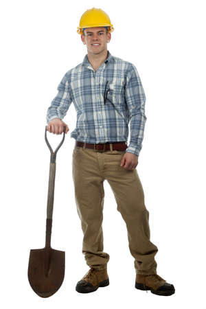 man construction worker with hard hat and shovel ready to work Stock Photo - 13725726