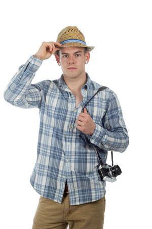 vacationer: Man with old 35mm camera poses as tourist