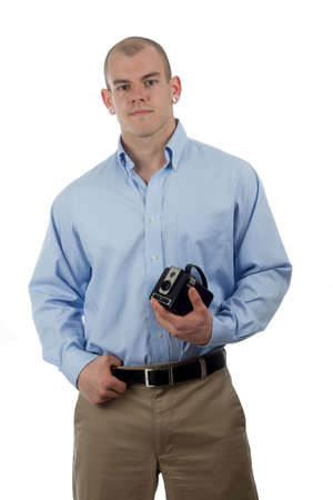 man in sporty casual wear poses with old camera Stock Photo - 13725776