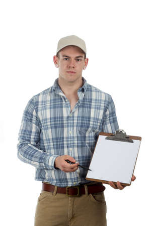 reciept: man delivery guy with clip board