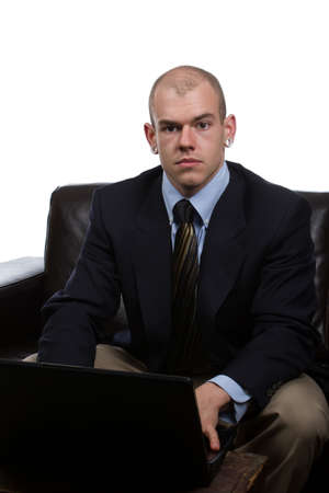 man works on laptop with his loosened tie Stock Photo - 13745671