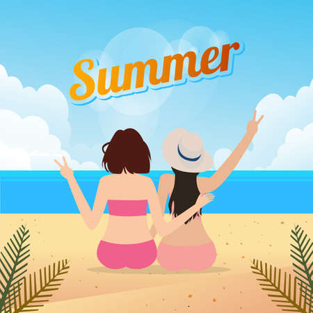 two young women sitting together on a sandy beach travel lifestyle outdoor summer Illustration