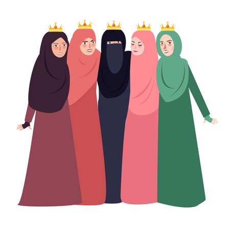 muslim woman wearing veil together people and friendship together beutiful girls Islam