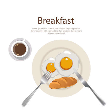 breakfast menu egg yolk with bread and cofee on plate Illustration